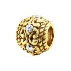 Cheneya 14K Gold Plated Bead in a Filigree Design with Cubic Zirconias