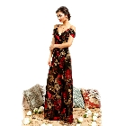 Soieblu, Black & Red Floral Open Shoulder V-neck Maxi Dress, Small