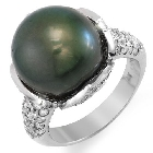Tahitian Pearl and Diamond Ring in 14K White Gold, 1.10ctw