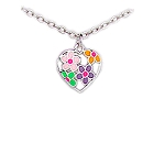"Adorable Pink, Orange, Purple and Green flower enamel pendant in sterling silver, 14"" chain"