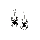 Head-Turning Sterling Silver Spider Earrings with Black Resin Body