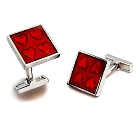 Red Heart Rhodium Plated Glass Cufflinks