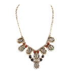 Grey, Black and Light Peach Nacre Faux Jewel Bib Necklace Set, 20""