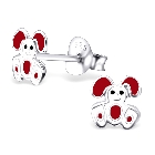 925 Sterling Silver White And Red Colorful Rabbit Earring Studs For Children And Teens