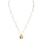 """Pink Ribbon Fighter Gold Tone Necklace With Pouch, 16\"""""""