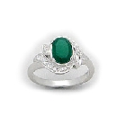 Deep Green Agate and Cubic Zirconia Ring Set  in Sterling Silver
