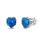 Intricately Designed Sterling Silver - 6mm Heart Stud Earrings with Blue Cubic Zirconia, 2 CTW, 4 prong