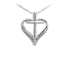 Sterling Silver and Cubic Zirconia Cross Within a Heart Necklace, 18""