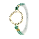 Aqua Green Crystal Circle Charm Dual Function Stretch Bracelet and Hair Tie
