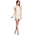 Champagne Colored Sleeveless Sparkling Beaded Cocktail Mini Dress, Small