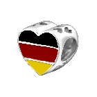 Cheneya Sterling Silver 925 Colorful Heart Shape German Flag or Germany Bead