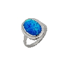 October Birthday! Blue Lab-Created Opal Ring Set in Sterling Silver, Size