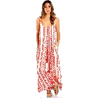 ELAN Tribal Print Wide Leg Jumpsuit with Pockets in Red and Cream, Medium