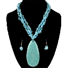 Large Turquoise (Reconstructed) Necklace and matching earings