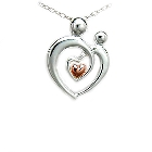 Sterling Silver Mother and Child Pendant with Pink Gold Plated Heart