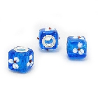 Cheneya Glass Square Bead in Blue with White Flowers