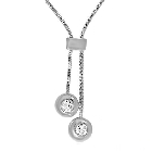 Sterling Silver Snake Design Necklace with 1.10ctw Cubic Zirconias