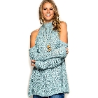 She + Sky Long Sleeve Slate Blue Cold Shoulder Tunic High Neck Sweater, Small