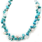 June and December Birthdays! Freshwater Cultured Pearl, Turquoise (Reconstructed)  and Crystal Necklace