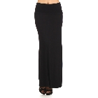 Solid Black Maxi Skirt with Banded Waist, Size XL