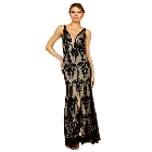 Soieblu Black and Nude Lace Yoke & Mesh Sleeveless Embroidery Detail Maxi Dress, Large