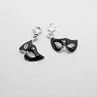Black Sterling Silver Fifty Shades of Grey Mardi Gras Masquerade Mask Charm
