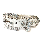 White Leather Dog Collar with a Row of High Quality Clear Rhinestones, Size S
