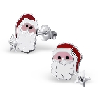 Children\'s Sterling Silver and Colored Enamel Santa Claus Studs with Crystal