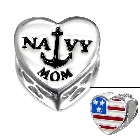 Cheneya Sterling Silver 925 US Navy Mom Heart Bead with Sea Anchor