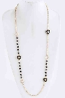 Long Gold Tone Chain Necklace with Black Beads and Black Enamel Hearts, 40 Inch