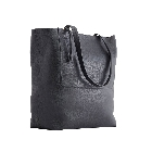 Kiko Black Double Zipper Leather Tote