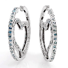 White and Blue Diamond Heart and Circle Earrings in 14K White Gold, 1ctw