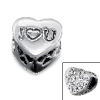 "Cheneya ""I (Heart) You"" Sterling Silver Heart Bead with Crystal Stones"