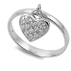 Sterling Silver Ring with Cubic Zirconia Pave Covered Dangling Heart Charm, Size 8