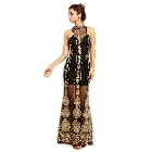 Soieblue, Black and Gold Sleveless Statuesque Formal High Neck Choker Maxi Dress, Medium