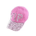 Pink Faceted Crystal Encrusted VIP Letter Design Accent Baseball Cap Hat