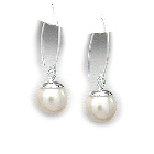 Large Pearl & Sterling Silver Drop Earrings