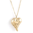 Gold Tone Hollow Heart Charm Accent Long Fashion Necklace and Earring Set