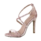 Dusty Pink Velvet Open Toe Strappy High Heel Pump Dress Sandal Shoes, Size 7.5