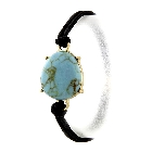 Round Blue Stone With Gold Tone Setting Stretch Hair Tie and Stretchy Bracelet Fashion Accessory
