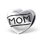 """Cheneya Sterling Silver Heart Bead with \""""MOM\"""" engraved in the Heart"""