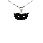 Glamorous Harlequin Mask Pendant in Sterling Silver and Black Crystals