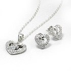Beautiful Sterling Silver with Cubic Zirconias Heart Shaped Necklace and Earring Set