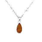 """Classic Baltic Amber Teardrop Pendant in Sterling Silver, 18\"""" Chain"""