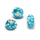 Cheneya Glass Bead in Turquoise with White Flower Design