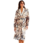Wrap Up by VP Safari, Brown, Beige and Black Leopard and Zebra Print Microfiber Long Robe S/M