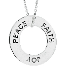 Peace, Faith, Joy Sterling Silver Necklace