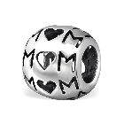 Cheneya 925 Sterling Silver cut out MOM Mother Bracelet Bead Charm