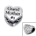 """Cheneya \""""Grand Mother #1\"""" Sterling Silver Heart Bead with Crystals"""
