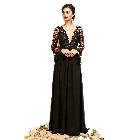 Soieblu Black Floral V-Neck Angel Sleeve Embroider Lace Detail Maxi Dress, Small